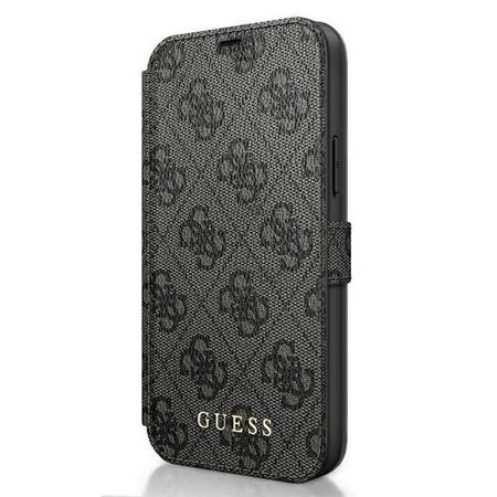 Guess Booktype 4G Charms Collection - Etui iPhone 12 Pro Max z kieszeniami na karty (szary)