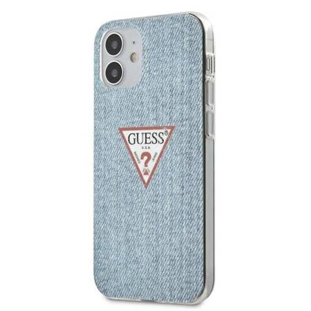 Guess Denim Triangle Lt - Etui iPhone 12 Mini (niebieski)