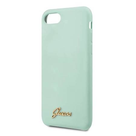Guess GUHCI8LSLMGGR iPhone 7/8/SE 2020 zielony/green hard case Silicone Vintage Gold Logo