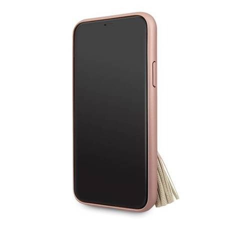 Guess GUHCN58RSSARG iPhone 11 Pro różowy/pink hard case Saffiano with ring stand