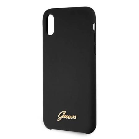 Guess GUHCPXLSLMGBK iPhone X/Xs black/czarny hard case Silicone Vintage Gold Logo