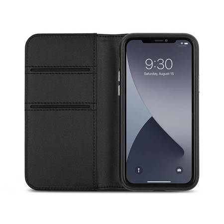Moshi Overture - Etui 3w1 iPhone 12 Mini z kieszeniami na karty + stand up (system SnapTo) (Jet Black)