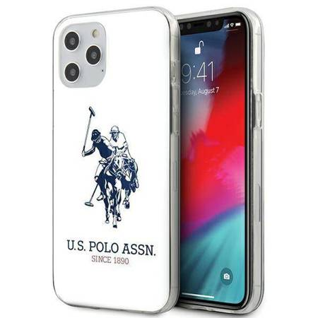 US Polo Assn Big Double Horse Logo - Etui iPhone 12 / iPhone 12 Pro (biały)